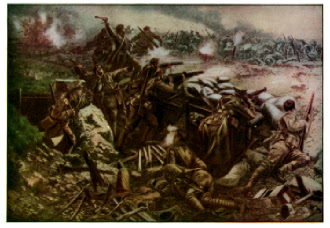 Canadian soldiers fighting at the Battle of Ypres
