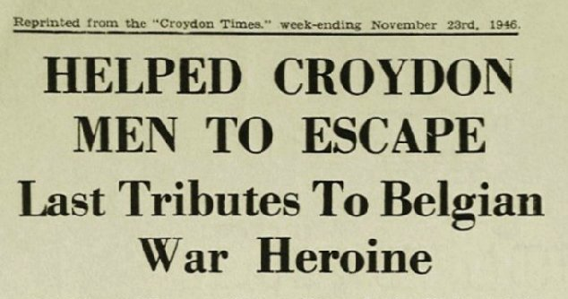 Headline from the article in the Croydon Times of 23rd November 1946 paying tribute to Marthe Janssen-Leyder, a member of the Belgian Secret Army during World War II