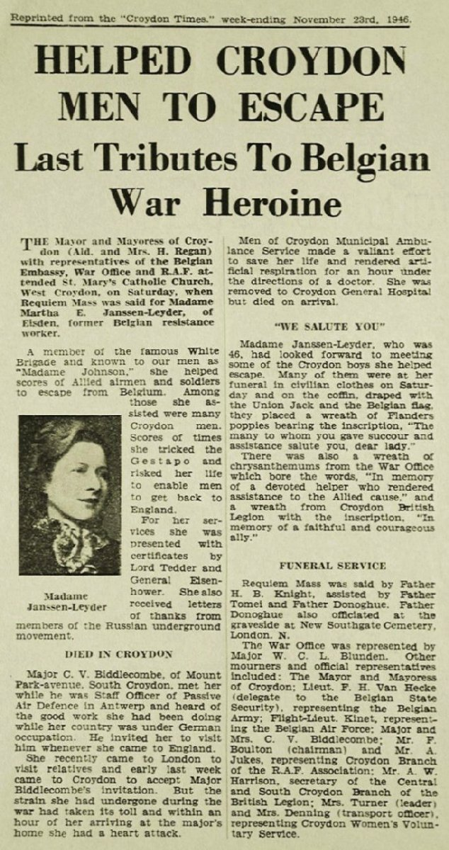 Article from the Croydon Times of 23rd November 1946 paying tribute to Marthe Janssen-Leyder, a member of the Belgian Secret Army during World War II