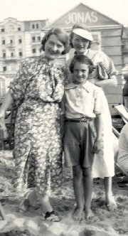 Photo of Marthe with my sister Janine, then 9 years old, and Marthe's daughter, Yvonne, at the rear.