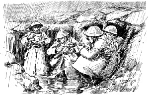 World War One drawing of soldiers eating in their rain-sodden trench
